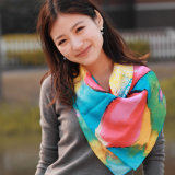 Modern Flower Digital Printing Silk Scarf for Lady (12-BR210303-2.2)
