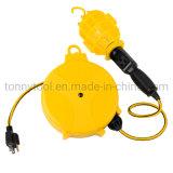 20 FT Retractable Cord Reel W/ Trouble Light - Drop Light Reel Lamp cETLus