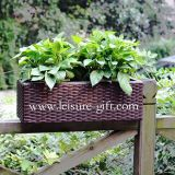 Fo-9401 Rectangle Rattan Flower Pot for Balcony