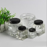 Square Honey Glass Jar or Bottles with Metal Closure Caver