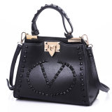 Newest Designer Classic Black PU Leather Handbag for Lady