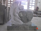 Seawave Green Granite Monument with Angel Carved Headstone