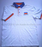 Cotton Pique Mesh Embroidery Logo Polo Shirt with Piping Sleeve