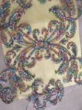 Wholesale 100% Cotton Laser Cut Lace Fabric with Handmade Stone and Beads