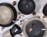Embossed Glazed Ceramic Tableware with Gold Color Rim