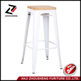 French Style Dining Room High Buy Counter Wood Stackable Modern Industrial Metal Bar Stool