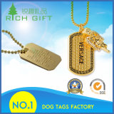 Gold Army Pet Tags Plated Custom Metal Dog Tag Manufacture with Necklace