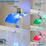 Temperature Sensitive 3 Color Changing Bathroom Glass LED Tap