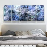 Blue 3D Swirl Abstract Metal Oil Painting Interior Modern Wall Art Decor 100% Handmade