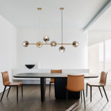 Modern 220 Volts Brass Linear Body and Clear or Smoky Glass Ball Bubble Shade LED Chandelier Light Pendant Lamp for Dining Room