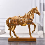 Factory Wholesale Home Ornaments Golden Horse Resin Crafts Animal Statues