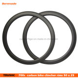 50 mm 3K Matte Tubeless Bike Wheel Rim with Basalt Brake Surface