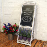 Pine Frame White Colour Lacquered Standing Single Chalkboard