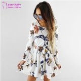 White Floral Print Long Sleeve Mini Dress