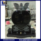 Shanxi Black Granite Heart Shape Memorial with Little Praying Angle Sculpture