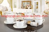 Full Decals 12PCS Square Porcelain Dinner Set, Dinnerware/ Kitenware /Tableware /Decoration Items /New Bone China, Cup&Saucer, Golden Line Designs
