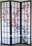 Black Color Popular Printing Rice Paper Non-Woven and Wooden Japanese Style Folding Shoji Screen Room Divider W/Plum Blossom Pattern X 3 Panel