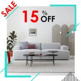 Foshan Modern Home Furniture Grey 3 Seat Couch Living Room Fabric Sofa