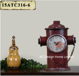 Vintage Decoration Antique Red Fire Hydrant Shape Metal Table Top Clock