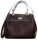 Fashion Handbags PU Leather Woman Tote Bag with Silver Hardware