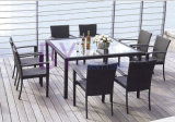 Outdoor Furniture with Glass Top Table and 8 PCS Chair