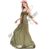 New Design Sexy Green Flower Fairy Cosplay Dress for Halloween