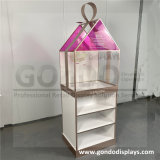 High Quality Cosmetic Acrylic Display Stand with Wooden Shelves