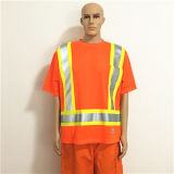 Shiny Orange Safety Workwear with High Visibility Tape