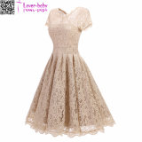 Women′s Vintage Short Sleeve Lace Evening Party Swing Dress L36203
