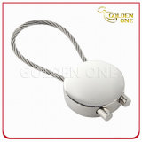 Pearl Plated Blank Round Shape Cable Metal Key Holder
