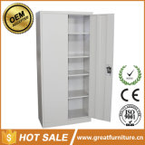 Grey Color Office Furniture 2 Door Steel Filing Storage Cabinet with Four Shelves