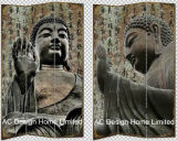 Buddha Design Living Room Canvas and Wooden Printing Decorative Folding Screen Room Divider X 3 Panel