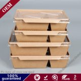 Disposable Take Away Take out Snack Fried Chip Chicken Sush Box Kraft Paper Packaging Box with Double Partition