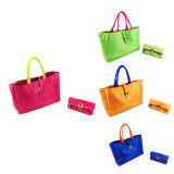 Candy Color Woman Tote Bag with Purse