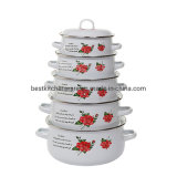 Best Selling Kitchenware Gift Enamel Casserole Set Alcohol Decal Enamel Cookware