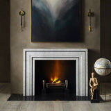 Great Marble Fireplace with Fine Hand-Carved Quality, Simple Design