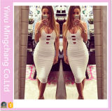 2016 New European and American Fashion Women White Nightclub Sexy Bandage Party Dress