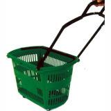 Four Wheels Plastic Shopping Basket