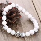 8mm Natural Brazilian White Stone Lion Head Bead Bracelet Jewelry