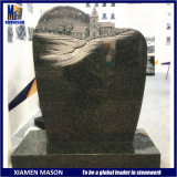 Wholesale Upright Indian Black Granite Tombstone with Carved House
