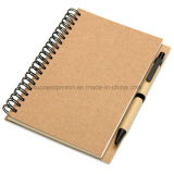 Customized Recycled Kraft Paper Spiral Notebook with Pen