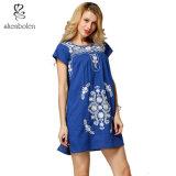 Fashionable Straight Style Sleeve Mini Short Embroidery Pattern Women Evening Dress
