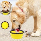 Plastic Feeder Pet Cat Food Foldable Trave Dog Bowl