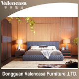 Hotel Home Bedroom Set Solid Wood with Leather King Bed