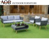 Wholesale Modern Outdoor Garden Home Hotel Patio Woven Rope Resort Village Sofa Furniture with Glass Table