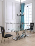 Hot Wholesale Cross Leg 6 Seater Tempered Glass Top Dining Table