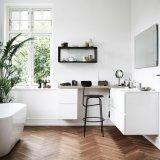 China Manufacturer Prefab White Color MDF Modern Bathroom Corner Cabinet