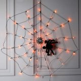 LED Halloween Black Spider Web Light with 70 LED Waterproof Orange Net Lights