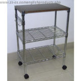 Adjustable Chrome Multi-Functional Metal Kitchen Cart with Hook (TR903590B3C)