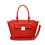 Genuine Leather Shoulder Handbag with Square Lock (MBNO038007)